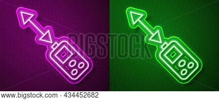 Glowing Neon Line Laser Distance Measurer Icon Isolated On Purple And Green Background. Laser Distan