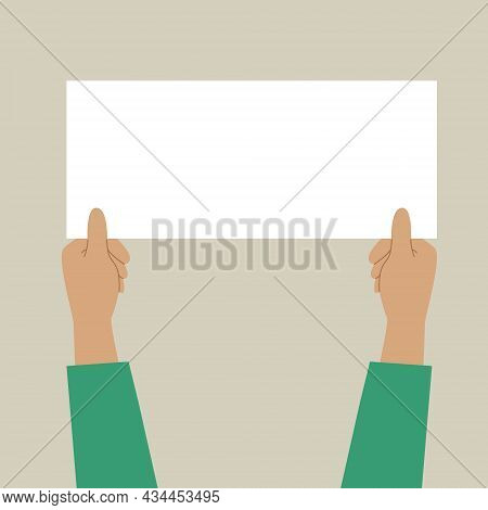 Two Hands Holding A White Sheet. Concept For Notice, Display, Contract Notice, Announce, Postcard, G