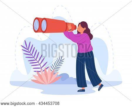 Female Cartoon Tourist Looking Far Away Through Huge Binoculars. Woman Thinking Ahead, Girl On White