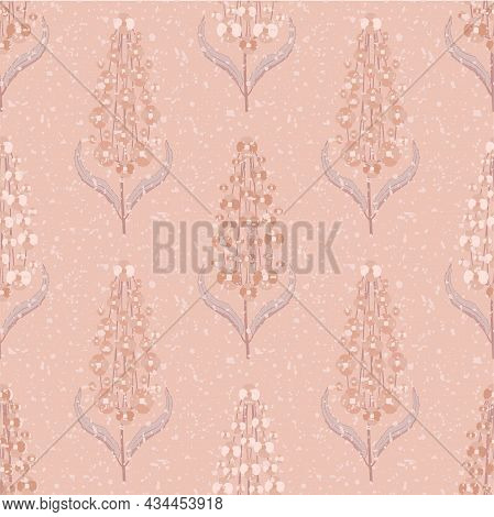 Abstract Buddleia Seamless Vector Pattern Background. Butterfly Bush Monchrome Pink Backdrop Of Peta