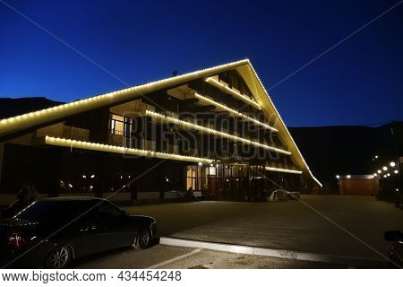 Night View On The Main Building Of The Hotel Complex On The Shore Of Lake Kezenoy Am. Chechen Republ