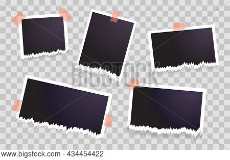 Set Of Torn Photo Frames Hanging On Transparent Background. Collection Of Blank Photos On Sticky Tap
