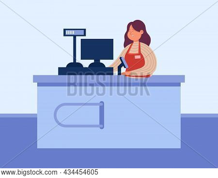 Female Cartoon Worker Standing Behind Checkout Counter. Woman Working In Supermarket, Cashier Using