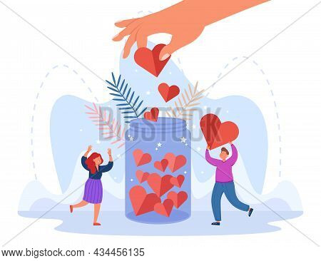 Hand Of Generous Person Putting Heart In Jar. Volunteers Giving Donations Flat Vector Illustration.