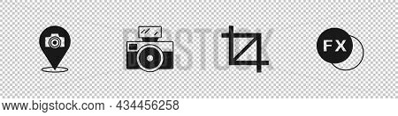 Set Photo Camera, With Flash, Picture Crop Photo And Fx Icon. Vector
