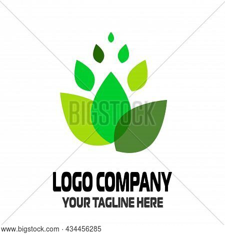 Abstract Green Logo Icon Of Green Leaves For Your Company. Eco, Ecology, Purity And Naturalness Symb