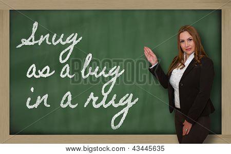 Teacher Showing Snug As A Bug In A Rug On Blackboard