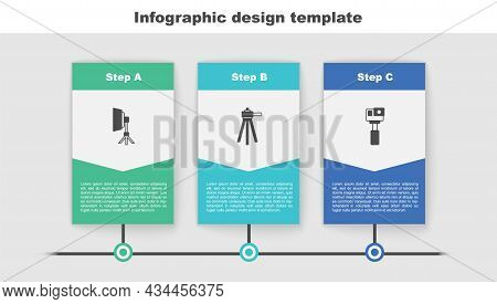 Set Softbox Light, Tripod And Action Camera. Business Infographic Template. Vector