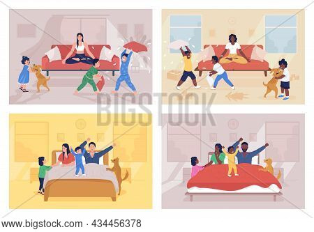 Parenting Challenges Flat Color Vector Illustration Set. Routine At Home With Children. Kids Waking