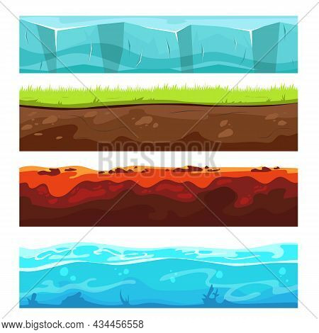Landscape Ground Layers Set. Cartoon Vector Illustrations Of Dirt Soil Sections With Underground Sto