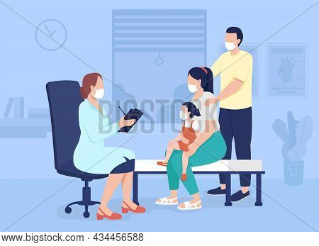 Family Visit To Doctor Flat Color Vector Illustration. Professional Medical Consultation In Hospital