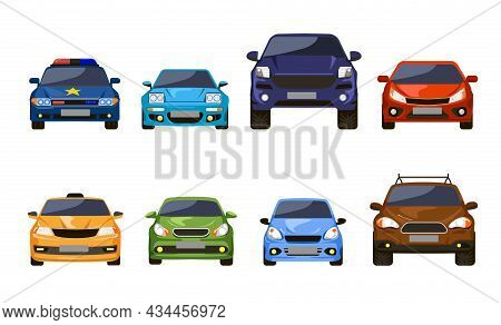 Front View Of Cars Set. Vector Illustrations Of Sedan Auto Vehicles Isolated On White. Modern Automo