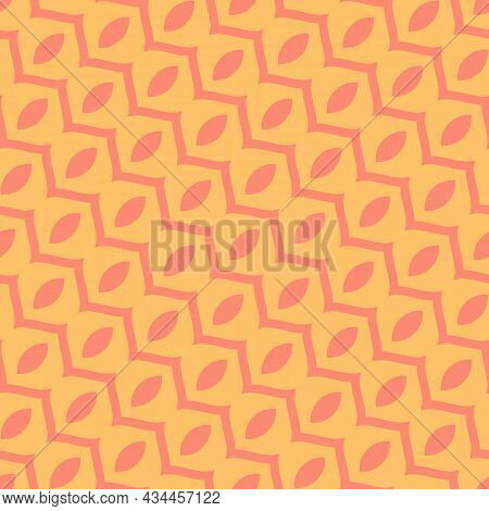 Vector Abstract Geometric Seamless Pattern With Curved Shapes, Wavy Lines, Diagonal Stripes. Simple