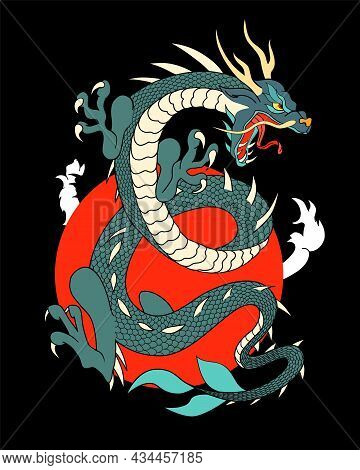 Japanese Flying Dragon With Red Sun With Floating Clouds On Dark Background Vector Design