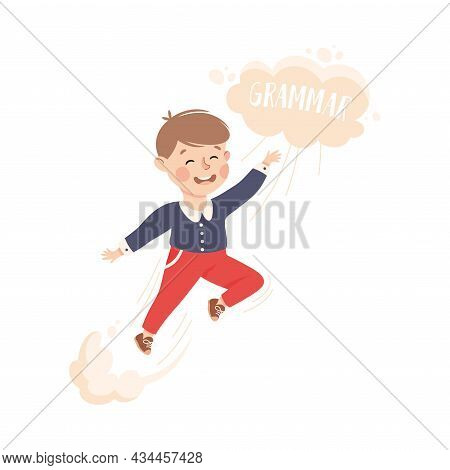 Superhero Little Boy At School Flying Up Achieving Goal And Gaining Knowledge Vector Illustration