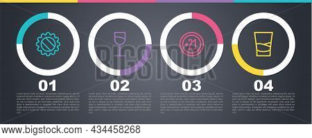 Set Line Bottle Cap, Wine Glass, Alcohol 21 Plus And Glass Of Vodka. Business Infographic Template.