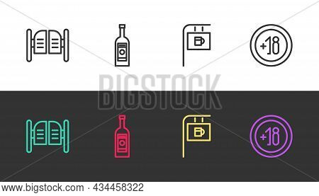Set Line Saloon Door, Glass Bottle Of Vodka, Street Signboard With Bar And Alcohol 18 Plus On Black