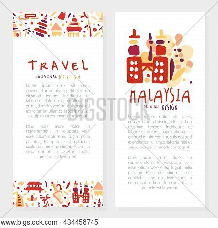 Travel To Different Country Hand Drawn Vector Template