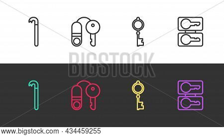 Set Line Crowbar, House With Key, Old And Casting Keys On Black And White. Vector