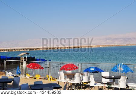 Panorama Of The Dead Sea, Israel. Sea View And Dining Tables At The Beach Cafe. September 03, Dead S