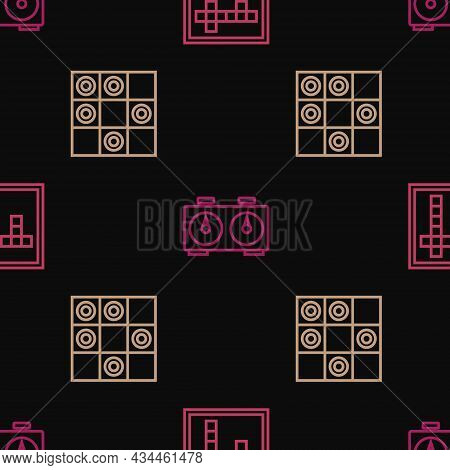 Set Line Bingo, Board Game Of Checkers And Time Chess Clock On Seamless Pattern. Vector