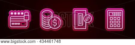 Set Line Credit Card With Lock, Coin Money Dollar, Inserting Coin And Calculator. Glowing Neon Icon.