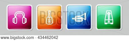 Set Line Headphones, Guitar, Trumpet And Metronome With Pendulum. Colorful Square Button. Vector