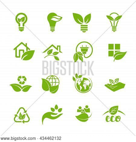 A Collection Of Environmental Symbols With Leaves, An Emblem Of Ecology, Organic, Natural Products,
