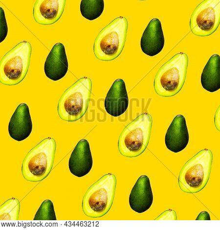 Seamless Pattern Of Halves Of Ripe Avocado , Healthy Oily Food, Keto Diet