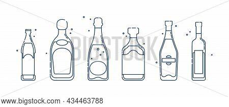 Bottle Beer Tequila Champagne Rum Martini Vodka Line Art In Flat Style. Restaurant Alcoholic Illustr