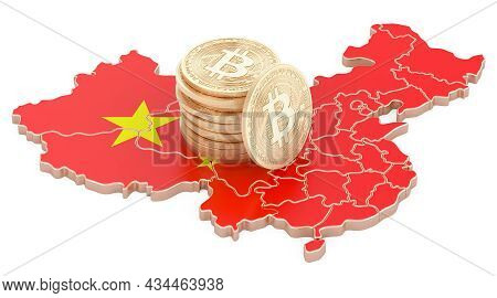 Bitcoin Crypto Currency In China, 3d Rendering Isolated On White Background