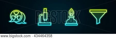 Set Line Radioactive, Microscope, Alcohol Or Spirit Burner And Funnel Filter. Glowing Neon Icon. Vec
