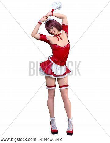 Atractive Woman In Maid Uniform.