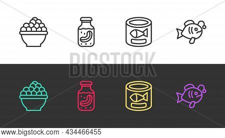 Set Line Caviar, Sea Cucumber In Jar, Canned Fish And Tropical On Black And White. Vector
