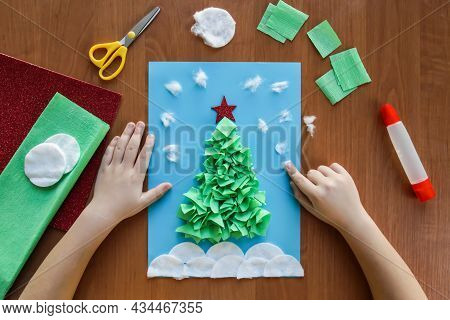 Diy. Application Christmas Tree. Easy Craft For Kid. Winter Card Christmas Tree From Paper, Crumpled