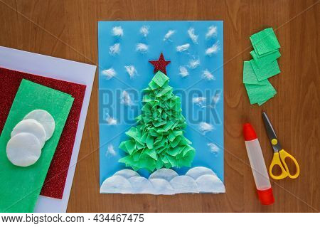 Diy. Christmas Tree. Easy Craft For Kid. Winter Card Christmas Tree From Paper, Crumpled Paper, Napk
