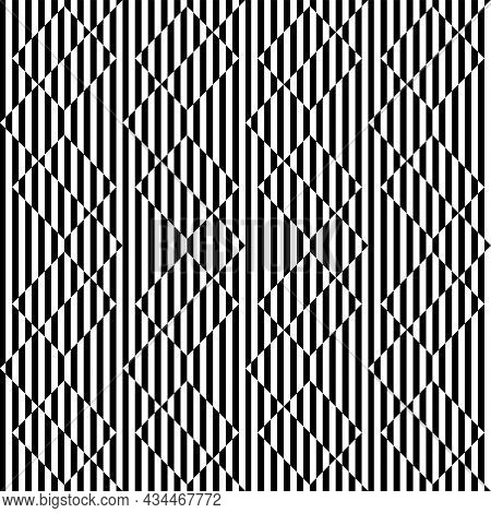 Abstract Seamless Striped Lines Op Art Pattern. Vector Illustration.