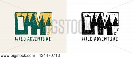 Christmas Trees Emblem. Wild Adventure Badge. Fir Forest. Engraved Hand Drawn In Old Vintage Sketch.
