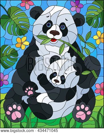 An Illustration In The Style Of A Stained Glass Window With A Panda With A Bear Cub On A Background