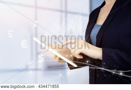 Investment Business Online Concept. Global Currency Exchange Concept Hand Touch White Tablet With Di