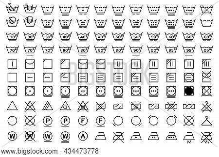 Flat Linear Design. A Set Of Symbols For The Care Of Textiles. Labeling Marks For Clothing And Other
