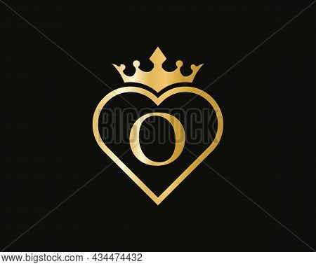 Initial O Logo With Crown And Love Shape. Heart Letter O Logo Design, Gold, Beauty, Fashion, Cosmeti