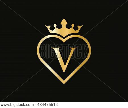 Initial V Logo With Crown And Love Shape. Heart Letter V Logo Design, Gold, Beauty, Fashion, Cosmeti