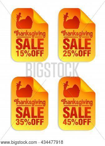 Thanksgiving Sale Orange Stickers Set 15%, 25%, 35%, 45% Off, Turkey With Pilgrim Hat. Vector Illust