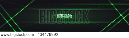 Black Wide Abstract Tech Horizontal Vector Background With Green Neon Lines. Technology Banner With