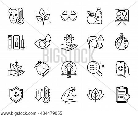Vector Set Of Cough, Patient History And Pandemic Vaccine Line Icons Set. Vaccination Schedule, Orga