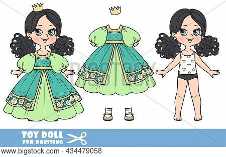Cartoon Girl With Black Ponytails Hairstyle Dressed And Clothes Separately - Green Ball Dress, Crown