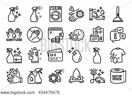 Vector Set Of Cleanser Spray, Wash Hand And Dont Touch Line Icons Set. Calendar Report, Money Wallet