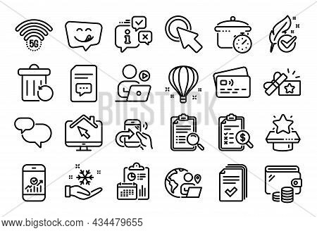 Vector Set Of Outsource Work, Chat Message And Boiling Pan Line Icons Set. Calendar Report, Money Wa