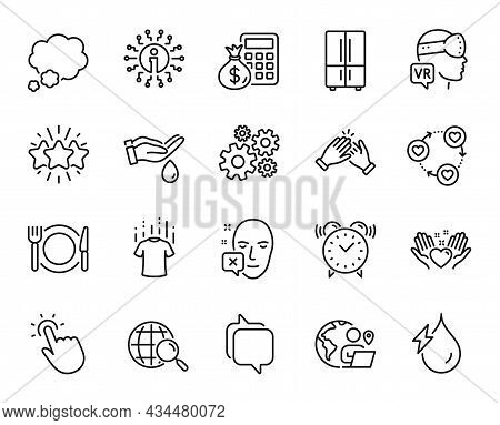 Vector Set Of Hold Heart, Web Search And Restaurant Food Line Icons Set. Dry T-shirt, Finance Calcul